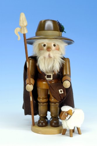 German Christmas Nutcracker Shepherd natural colors - 38,5 cm / 15 inch - Christian Ulbricht by Authentic German Erzgebirge Handcraft