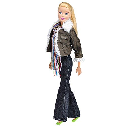 Vetements Barbie Fashion Girl Doll Toy vêtements décontractés vêtements tenues avec écharpe et accessoires pour Barbie Toys enfants filles cadeau de noël d'anniversaire®Beetest