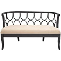 Deco 79 56613 Wood Fabric Bench, 54 x 34, Black
