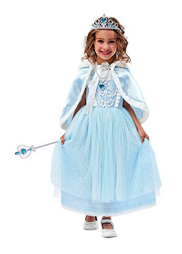 TOKYO-T Girls Cinderella Dress Elsa Snow Queen Costume Sparkle with Full Accessories Size 3T -