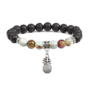 JczR.Y Natural Black Lava Stone Beads Stretch Bracelet 7 Chakra Diffuser Yoga Bracelet with Pineapple for Women