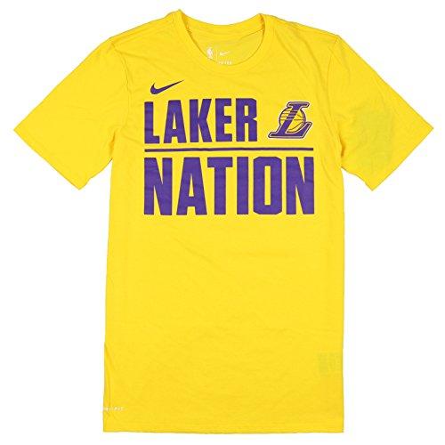 Nike Men's Los Angeles Lakers Laker Nation T-Shirt Large Yellow - Mlb Training Nike Shirt