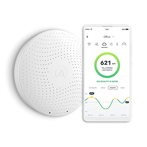 Airthings Wave Plus Indoor Air Quality Monitor with Radon Detection Free App & Web Dashboard Easy-to-Use