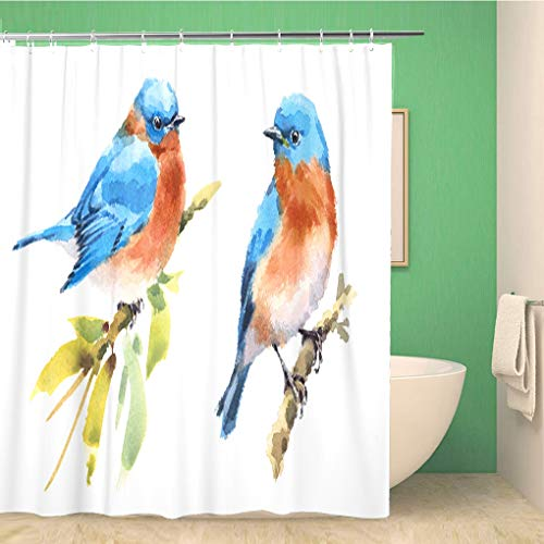 Couple Bluebirds Curtain Set
