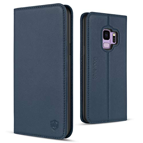Galaxy S9 Case, SHIELDON Genuine Leather Galaxy S9 Wallet Case [Folio Cover][Stand Feature] Flip Protective Case with Card Slot + Side Pocket Magnetic Closure Compatible with Galaxy S9 - Blue