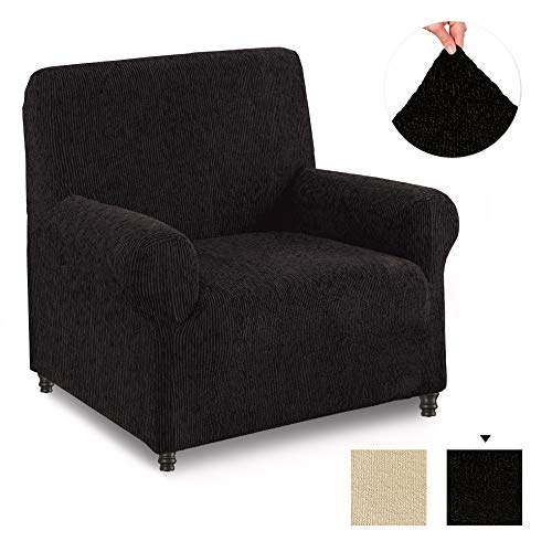 PAULATO BY GA.I.CO. Chair Cover - Armchair Cover - Armchair Slipcover - Cotton Fabric Slipcover - 1-Piece Form Fit Stretch Stylish Furniture Protector - Velluto Collection - Black (Chair)