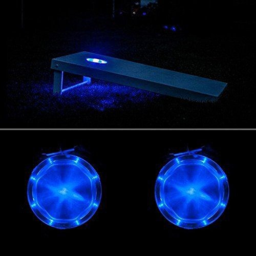 Cornhole Light Set of 2, 6'' Corn Hole Board Lamp with Super Bright LED Lights Includes Screws - Easy Mounting in Minutes, Allow You to Play Your Bean Bag Toss Game for Hours After Dark! (Blue) by Zezhou