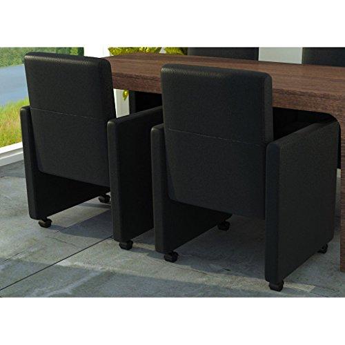 Esszimmerstühle Esszimmersessel (2er Set) auf Rädern schwarzes Kunstleder gepolstert