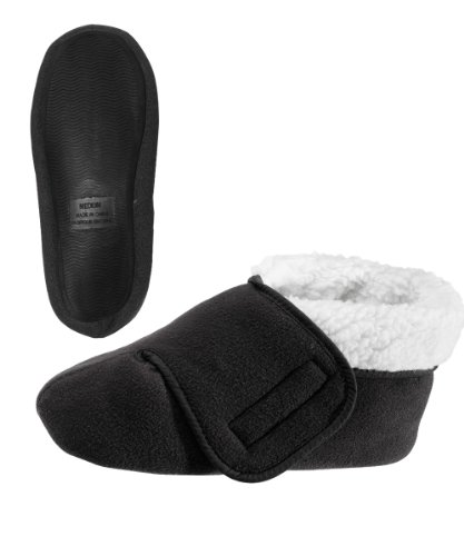 Womens/Mens Slip Resistant Bootie Slipper With Adjustable - Black XL from Silvert's