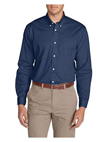 Eddie Bauer Men's Wrinkle-Free Classic FIt Pinpoint Oxford Shirt - Solid, Blue T (Shirt Pinpoint Fit Dress)