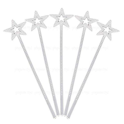 Tvoip 5PCS Girls Costume Props Star Magic Wand Angel Fairy Wands Sticks Birthday Party Wedding Halloween Cosplay Christmas 13 Inches -