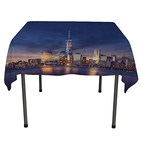 New York, Washable Table CoverNew York City Manhattan After Sunset View Picture with Skyline Reflection on The River, for Kitchen Dinning Tabletop Decor, 36x36 Inch Navy Gold -