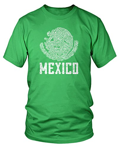 (Amdesco Men's Mexican Coat of Arms, Coat of Arms of Mexico T-Shirt, Kelly Green Medium)