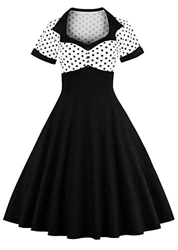 Nihsatin Vintage Polka Dot Retro Cocktail Prom Dresses 50's 60's Rockabilly Black from Nihsatin