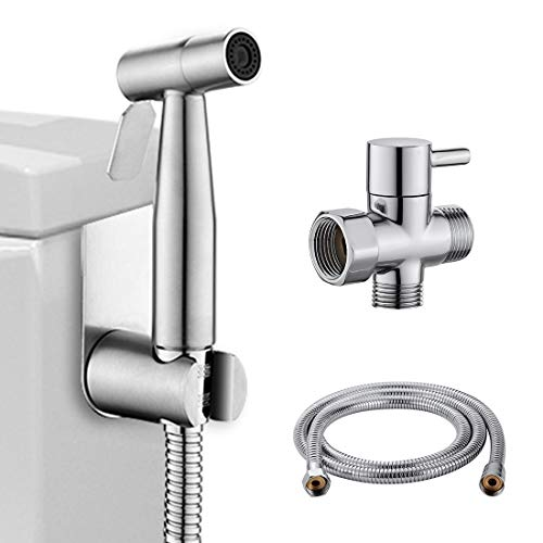 LIKAMU Stainless Steel Bathroom Handheld Bidet Toilet Sprayer Kits for Personal Hygiene and Cloth Diaper,Premium Water Shattaf Sprayer with Adjustable Pressure Control Jet is Perfect For Bath - Control Infection Package