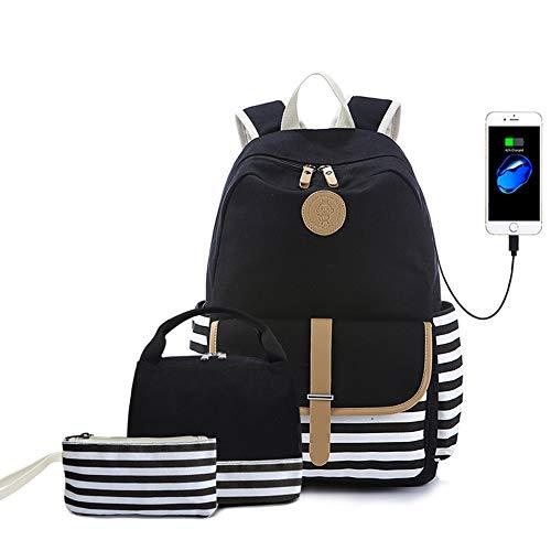 "Teens School Backpack Set, Canvas Unisex Bookbags 14"" Laptop"