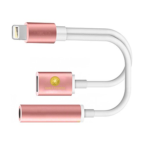 iPhone 3.5mm Headphone Adapter, Flexible TPU Lightning to 3.5mm Headphone Jack Adapter + Lightning Charging Port Adapter for iPhone 7, iPhone 7 Plus (Rose Gold)