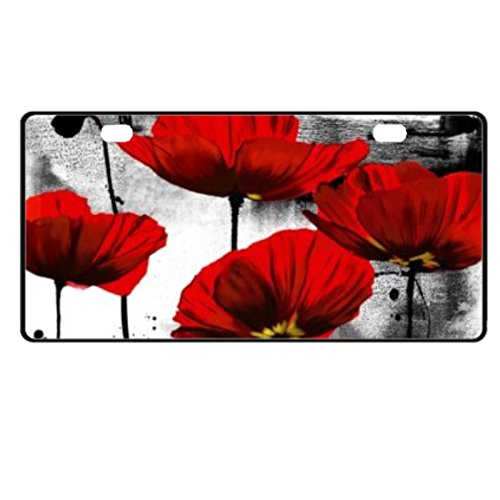 Red Poppy Flower Custom License Plate Front License Plate Vanity Tag Auto Tag Aluminum 11.8