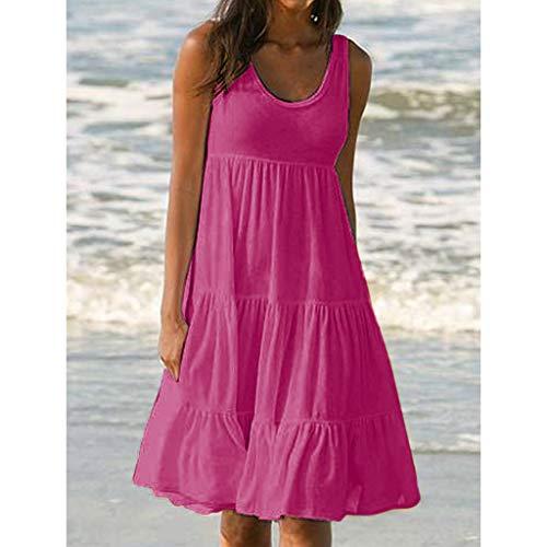 Maniche Party tmVestito Dress Caldo Rosa Donna Babydoll Ragazza Solid Beach Semplice Casual Vacanza Estate collo O Damark Senza Lose UzLqpVSMG