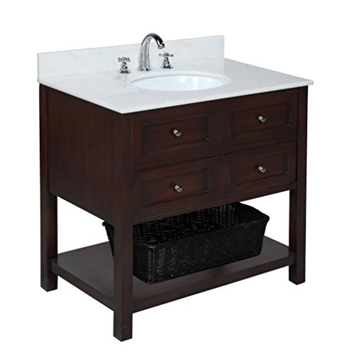 41apcvqIcdL - Kitchen Bath Collection KBCD666WT New Yorker Bathroom Vanity with Marble Countertop, Cabinet with Soft Close Function and Undermount Ceramic Sink, White/Chocolate, 36""