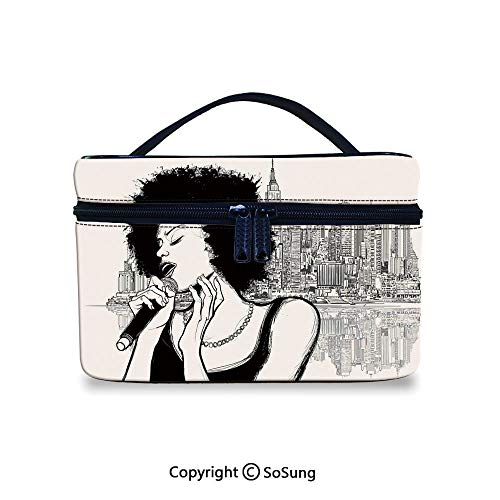 Afro Decor Toiletry Bag Portable American Jazz Music Girl Performing in front of New York Manhattan IllustrationWaterproof Toiletry Bag,9.8x7.1x5.9inch,Black Grey (Best Lipsticks In India With Price)