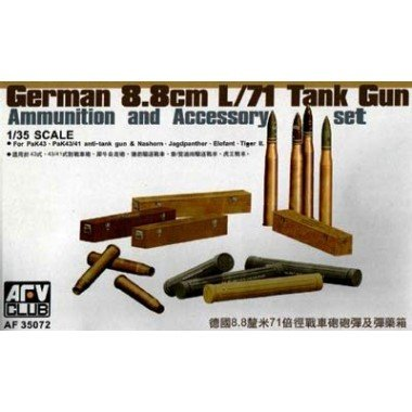 German Accessories Tank - German 8.8cm L/71 Tank Gun Ammo/Accessory Set for Pak 43/41 1-35 AFV Club