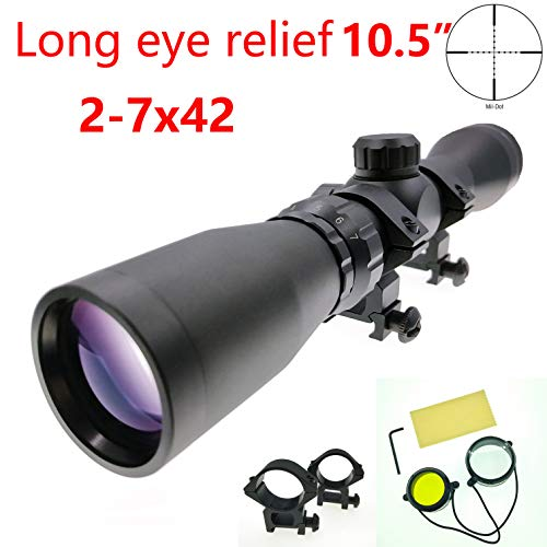Huntiger Long Eye Relief 2-7x42 Mosin Nagant Rifle Scope Hunting 1891/30 M39 M44 M38 91/30 Scout Scope Picatinny Weaver 1913 Ring Mount