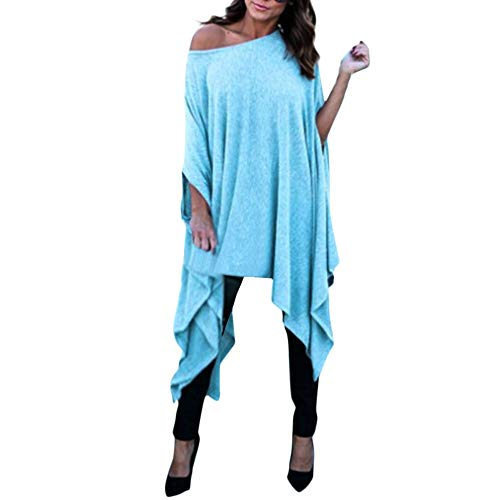 Shusuen Women's Batwing Sleeve Off Shoulder Loose Oversized Baggy Tops Sweater Pullover Casual Blouse T-Shirt Blue