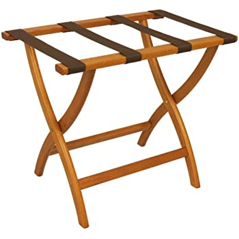 Good Folding Solid Oak Deluxe Luggage Rack W Four Support Straps (Medium Oak  With Brown Webbing