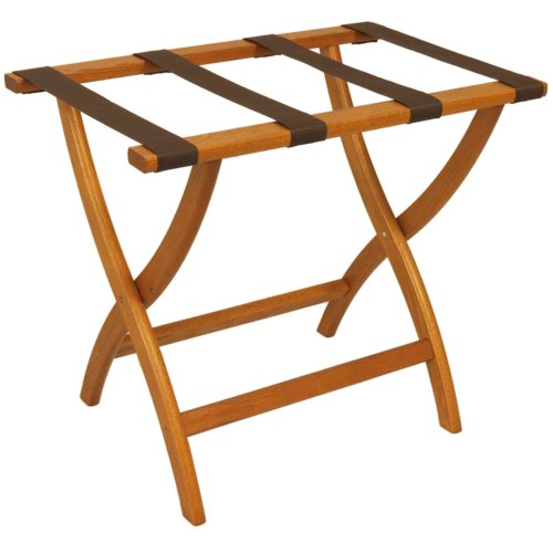 Folding Solid Oak Deluxe Luggage Rack w Four Support Straps (Medium Oak with Brown Webbing)