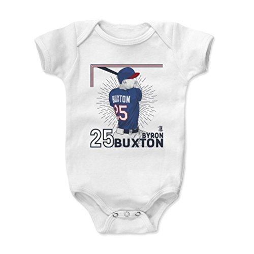 500 LEVEL's Byron Buxton Baby Onesie 12-18 Months White - Minnesota Baseball Baby Clothes - Byron Buxton Corner (Corner Onesie)
