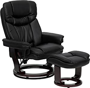 Black leather chair with matching ottoman