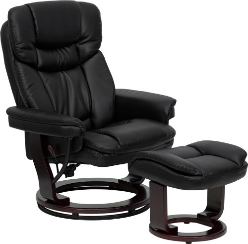 Rocker Leather Bonded Recliner - Flash Furniture Contemporary Black Leather Recliner and Ottoman with Swiveling Mahogany Wood Base