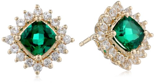 14k-Yellow-Gold-Created-Emerald-and-Created-White-Sapphire-Stud-Earrings