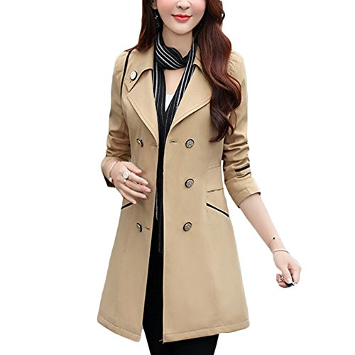 cc3287ee400 Verypoppa Women s Spring Autumn Jacket Double Breasted Lapel Long Sleeve  Trench Coat Tops - Buy Online in UAE.