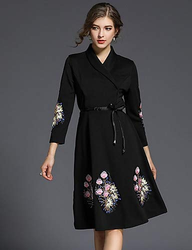 Y geométrico Sofisticado Vestido Yfltz v Para Mujer floral Algodón Profundo Black Peplum De Bordado Color estampado Sólido Fino xdIxX7q