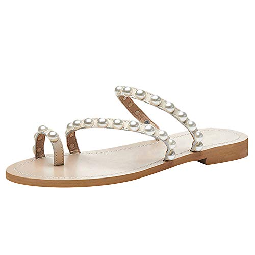 Jamron Women's Bohemia Pearls Toe Ring Slippers Summer Flat Flip Flops Beach Shoes Apricot SN02408-2 US10
