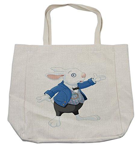 Lunarable Alice in Wonderland Shopping Bag, Rabbit is
