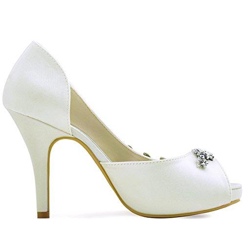 Eleganti Scarpe Da Donna Con Plateau Tacco Alto E Strass In Raso Da Sera Da Sposa Scarpe Da Sposa Avorio