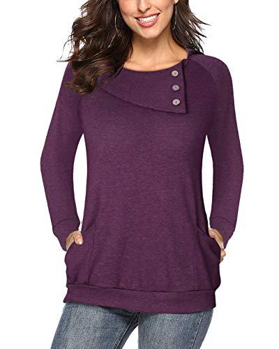 Ckuvysq Women's Long Sleeve Cowl Neck Tunic Sweatshirts Tops with Pocket (Flower...