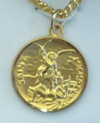St. Michael 14kt Gold over Sterling Medal (GS16-0124) Round with Prayer on 24-in Chain, (Michael Sterling Round Medal)