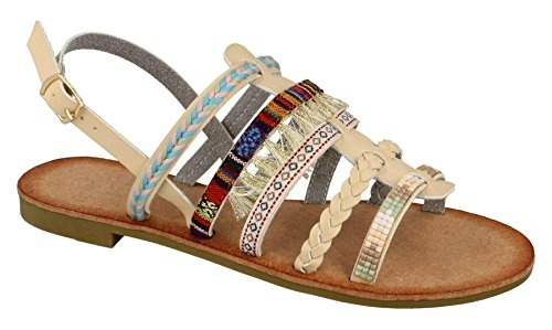 Ladies Womens New Sling Strap Beaded Braided Pompoms Strappy Sandals Shoes Size Beige 2lbdods