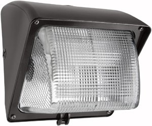 (RAB Lighting WP1GSN70 WP1 High Pressure Sodium Wallpack with Prismatic Glass Lens, ED17 Type, Aluminum, 70W Power, 6300 Lumens, 120V, Bronze Color)