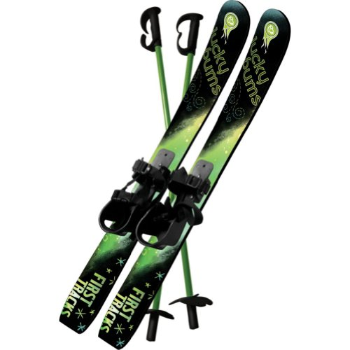 Lucky Bums Kid's Beginner Snow Skis and Poles, 70-cm