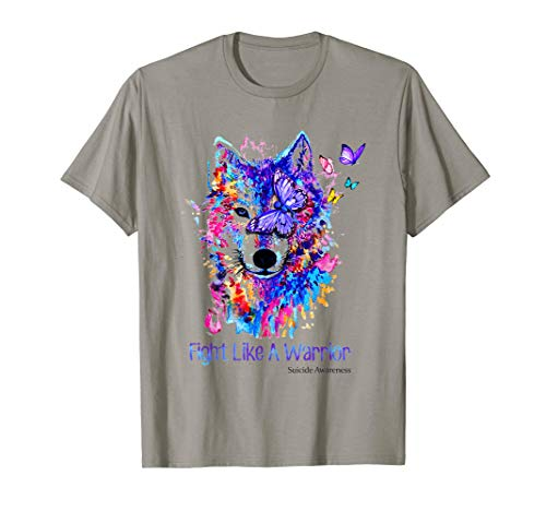 (Fight Like A Warrior Suicide Awareness Wolf Color T-Shirt)