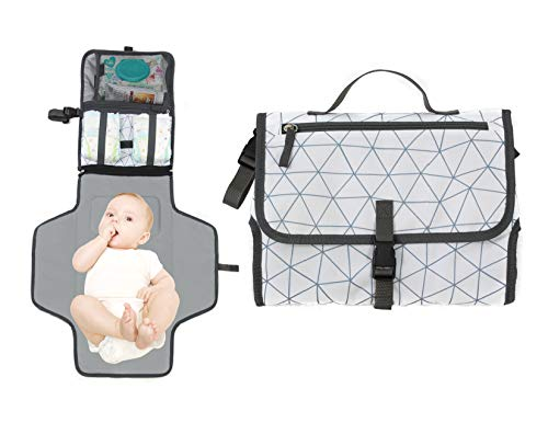 Baby Portable Diaper Changing Pad, Waterproof Travel Changing Mat Station   Built-in Padded Head Rest, Includes Mesh Pockets for Diapers and Wipes, and Adjustable Strap for Strollers