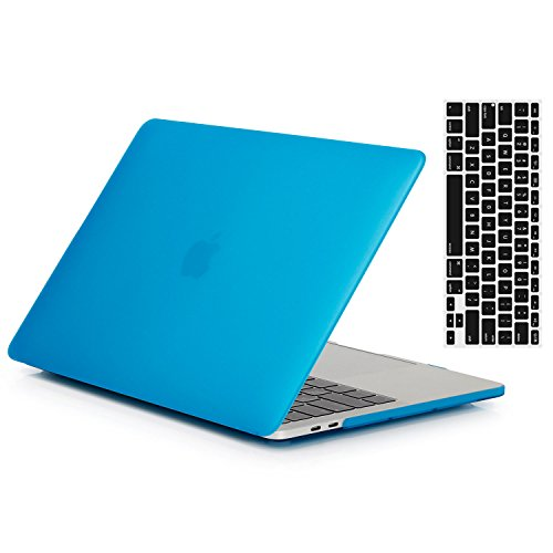 MacBook 12''Case and Keyboard Cover,AICOO Candy Pure Color Matte Soft-Touch Rubberized Laptop Case Cover Skin Protector for MacBook Retina Display 12 inch(A1534,Aqua Blue by AICOO