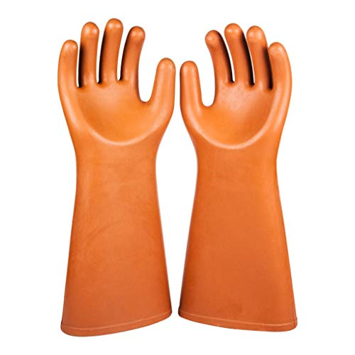 SHWSM Insulating Gloves 25KV High Voltage Anti-Electric Work Labor Insurance Rubber Gloves Safety Maintenance Electrician Special Gloves, Orange