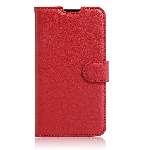 LG X Screen LGS02 ケース 【DINGXIN】 手帳型 耐衝撃 PUレザーカバー カード収納付き [ 高品質PUレザー + TPU素材 ] LG X Screen 携帯全面保護カバー スタンド機能付き (レッド)