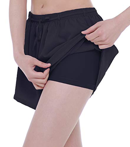 (ChinFun Women's 2 in 1 Running Shorts Quick Dry Double Layer Workout Jogging Shorts with Pockets Black L)